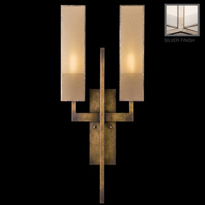 Perspectives Silver Two-Light Wall Sconce in Warm Muted Silver Leaf Finish