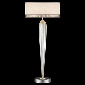 Allegretto Two-Light Table Lamp in Platinized Silver Leaf Finish
