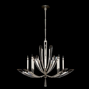 Vol De Cristal Eight-Light Chandelier in Platinized Silver Leaf Finish