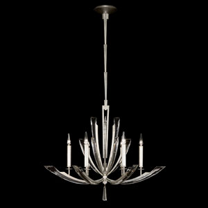 Vol De Cristal Six-Light Chandelier in Platinized Silver Leaf Finish with Tapered Beveled Crystals