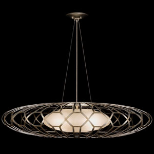 Allegretto Three-Light Pendant in Platinized Silver Leaf Finish