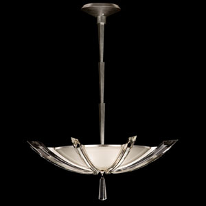 Vol De Cristal Three-Light Pendant in Platinized Silver Leaf Finish with Tapered Beveled Crystals