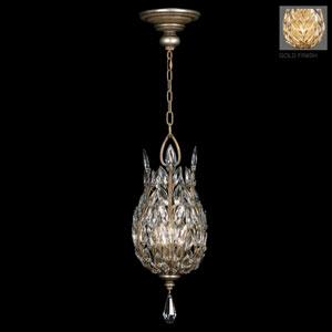Crystal Laurel Gold Three-Light Lantern in Antiqued Gold Leafed Finish