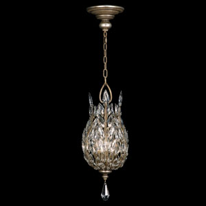 Crystal Laurel Three-Light Lantern in Warm Silver Leaf Finish