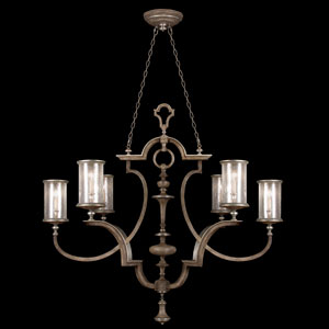 Villa Vista Six-Light Chandelier in Hand Painted Driftwood Finish On Metal with Silver Leafed Accents with Hand Blown Seedy