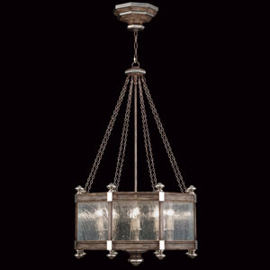 Villa Vista Eight-Light Pendant in Hand Painted Driftwood Finish On Metal with Silver Leafed Accents