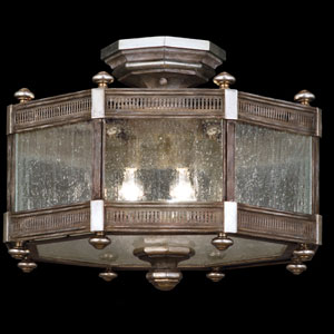 Villa Vista Three-Light Semi-Flush Mount in Hand Painted Driftwood Finish On Metal with Silver Leafed Accents