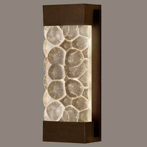 Crystal Bakehouse Two-Light Wall Sconce in Bronze Finish with Handcrafted, Polished Block of Crystal River Stones