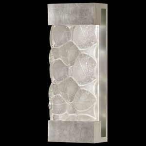 Crystal Bakehouse Two-Light Wall Sconce in Silver Leaf Finish with Handcrafted, Polished Block of Crystal River Stones