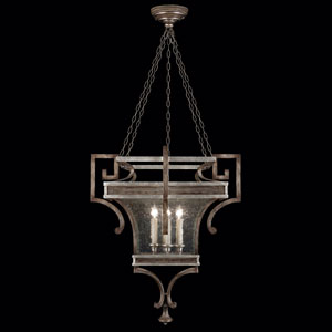 Villa Vista Six-Light Lantern in Hand Painted Driftwood Finish On Metal with Silver Leafed Accents