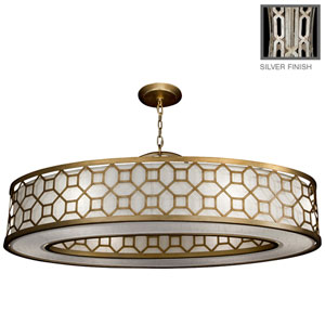 Allegretto Six-Light Pendant in Platinized Silver Leaf Finish