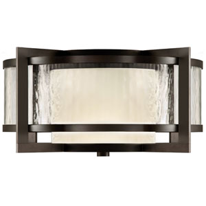Singapore Two-Light Outdoor Flush Mount in Dark Bronze Patina Finish