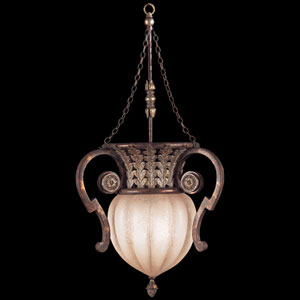 Stile Bellagio Two-Light Pendant in Tortoised Leather Crackle Finish