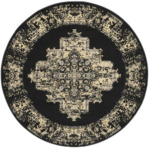 Grafix Black Round: 5 Ft. 3 In. x 5 Ft. 3 In. Area Rug