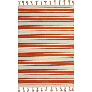Solano Ivory and Orange Rectangular: 4 Ft. x 6 Ft. 6 In. Rug