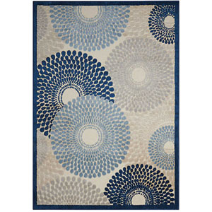 Graphic Illusions Ivory and Blue Rectangular: 2 Ft. 3 In. x 3 Ft. 9 In. Rug