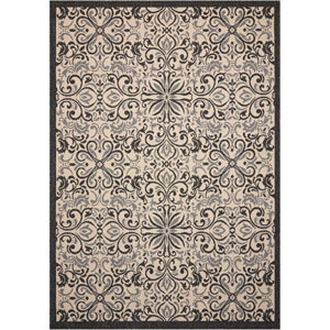 Caribbean Ivory and Charcoal Indoor/Outdoor Rectangular: 9 Ft. 3 In. x 12 Ft. 9 In. Rug