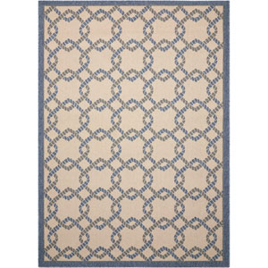 Caribbean Ivory and Blue Indoor/Outdoor Rectangular: 1 Ft. 9 In. x 2 Ft. 9 In. Rug