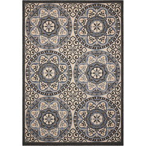 Caribbean Ivory and Charcoal Indoor/Outdoor Rectangular: 2 Ft. 6 In. x 4 Ft. Rug