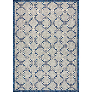 Garden Party Ivory/Blue Indoor/Outdoor Rectangular: 5 Ft. 3 In. x 7 Ft. 3 In. Rug