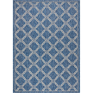 Garden Party Denim Indoor/Outdoor Rectangular: 7 Ft. 10 In. x 10 Ft. 6 In. Rug