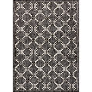 Garden Party Charcoal Indoor/Outdoor Rectangular: 5 Ft. 3 In. x 7 Ft. 3 In. Rug