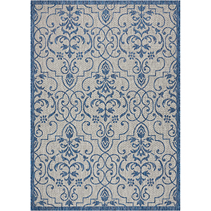Garden Party Ivory/Blue Indoor/Outdoor Rectangular: 7 Ft. 10 In. x 10 Ft. 6 In. Rug