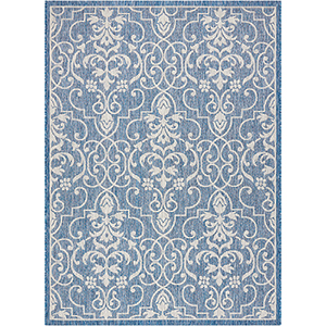 Garden Party Denim Indoor/Outdoor Rectangular: 5 Ft. 3 In. x 7 Ft. 3 In. Rug