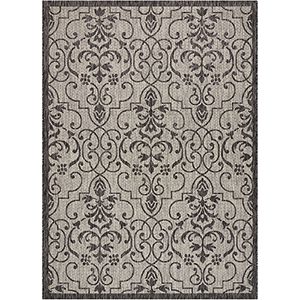Garden Party Ivory and Charcoal Rectangular: 7 Ft. 10 In. x 10 Ft. 6 In. Indoor/Outdoor Rug