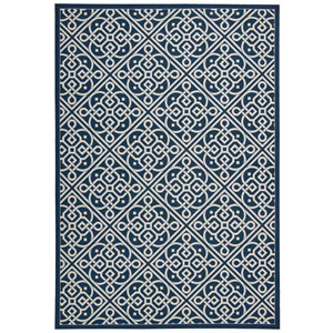 Sun and Shade Lace It Up Navy Indoor/Outdoor Rectangular: 10 Ft. x 13 Ft. Rug
