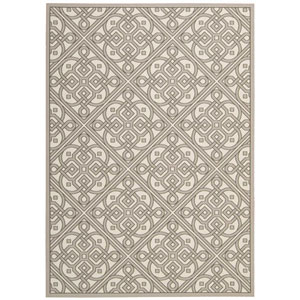 Sun and Shade Lace It Up Stone Indoor/Outdoor Rectangular: 10 Ft. x 13 Ft. Rug