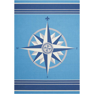Sun and Shade Sailing Blue Indoor/Outdoor Rectangular: 5 Ft. 3 In. x 7 Ft. 5 In. Rug