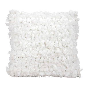 Shag Loop Shag White 16 In. Throw Pillow