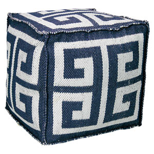 Greek Key Navy Cube 16 In. Outdoor Pouf