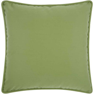 2-Sided Solid Corded Green and Turquoise 20 In. Outdoor Throw Pillow with Polyester Fill