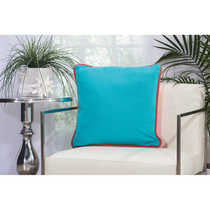 2-Sided Solid Corded Coral and Turquoise 20 In. Outdoor Throw Pillow with Polyester Fill