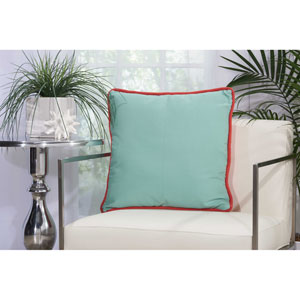 2-Sided Solid Corded Coral and Aqua 20 In. Outdoor Throw Pillow with Polyester Fill