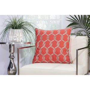 Woven Ropes Coral and Aqua 20 In. Outdoor Throw Pillow with Polyester Fill