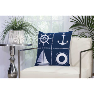 Nautical Grid Navy and White 18 In. Outdoor Throw Pillow with Polyester Fill
