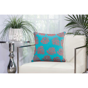 Embellished Corals Turquoise and Coral 18 In. Outdoor Throw Pillow with Polyester Fill