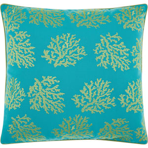 Embellished Corals Turqois Green 18 In. Outdoor Throw Pillow with Polyester Fill