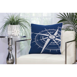 Embellished Compass Navy and White 20 In. Outdoor Throw Pillow with Polyester Fill