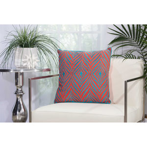 Embellished Wild Chevron Coral and Turquoise 18 In. Outdoor Throw Pillow with Polyester Fill