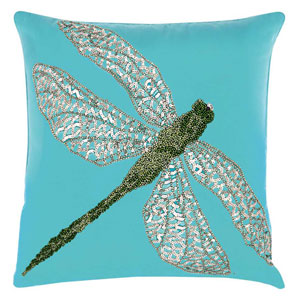 Beaded Dragonfly Turqois Green 18 In. Outdoor Throw Pillow with Polyester Fill
