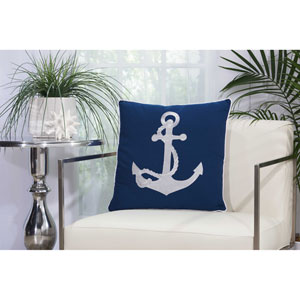Embellished Anchor Navy and White 18 In. Outdoor Throw Pillow with Polyester Fill