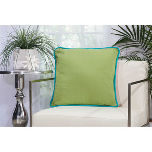Three Color Solid and Cord Green Coral 20 In. Outdoor Throw Pillow with Polyester Fill
