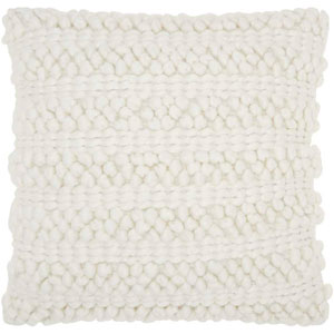 Life Styles Woven Stripes White 20 In. Throw Pillow