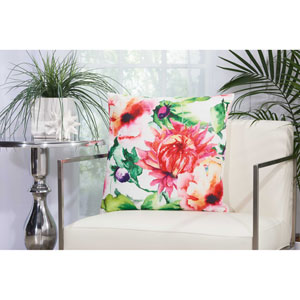 Watercolor Wildflower Multicolor 20 In. Outdoor Throw Pillow with Polyester Fill