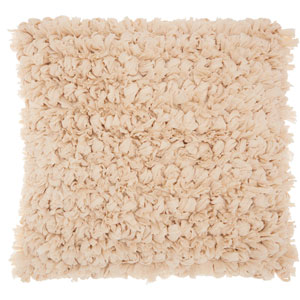 Shag Paper Loop Shag Beige 16 In. Throw Pillow