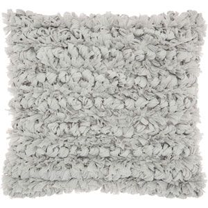 Shag Paper Loop Shag Silver 16 In. Throw Pillow